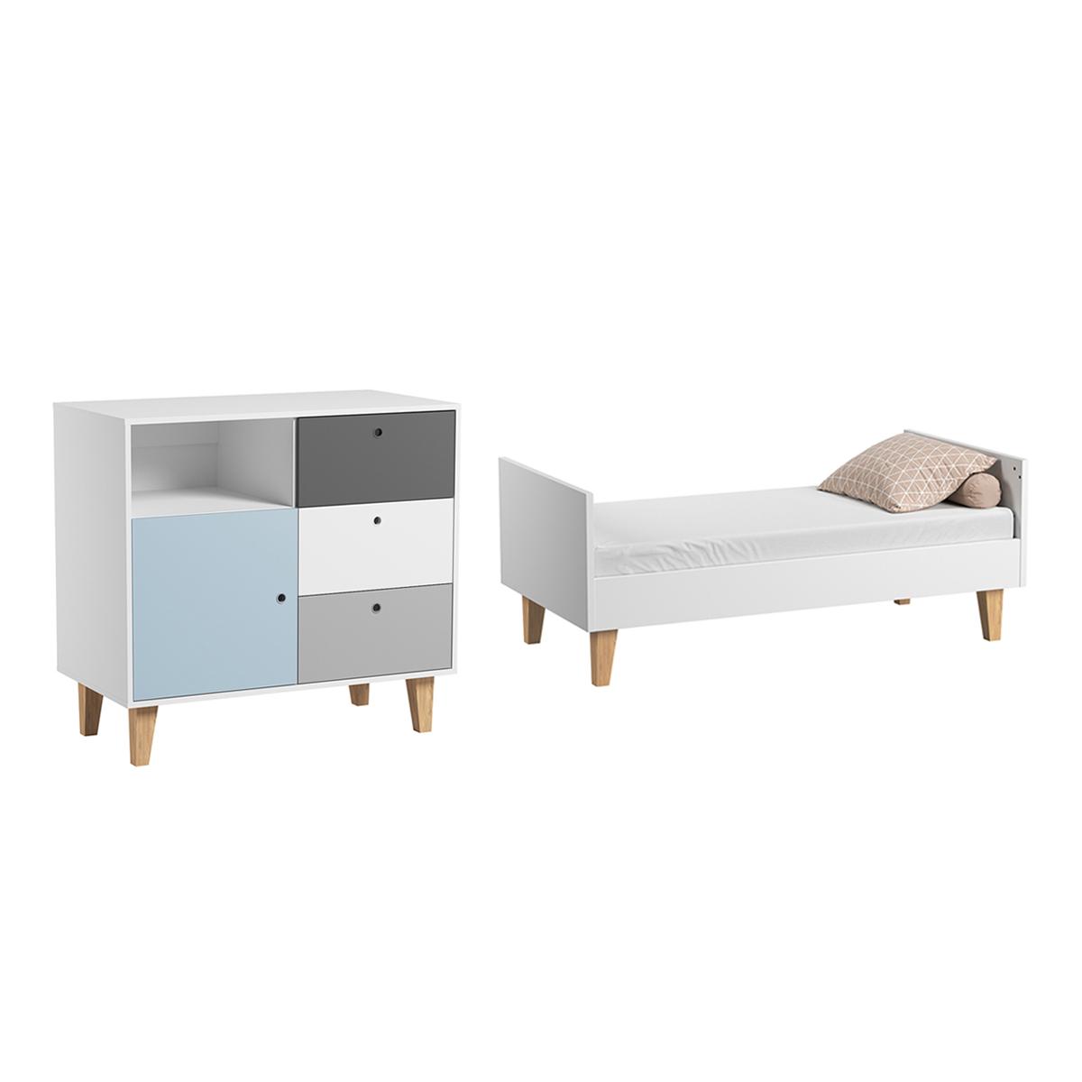 Lit évolutif 70x140 et Commode à langer Vox Concept - Bleu