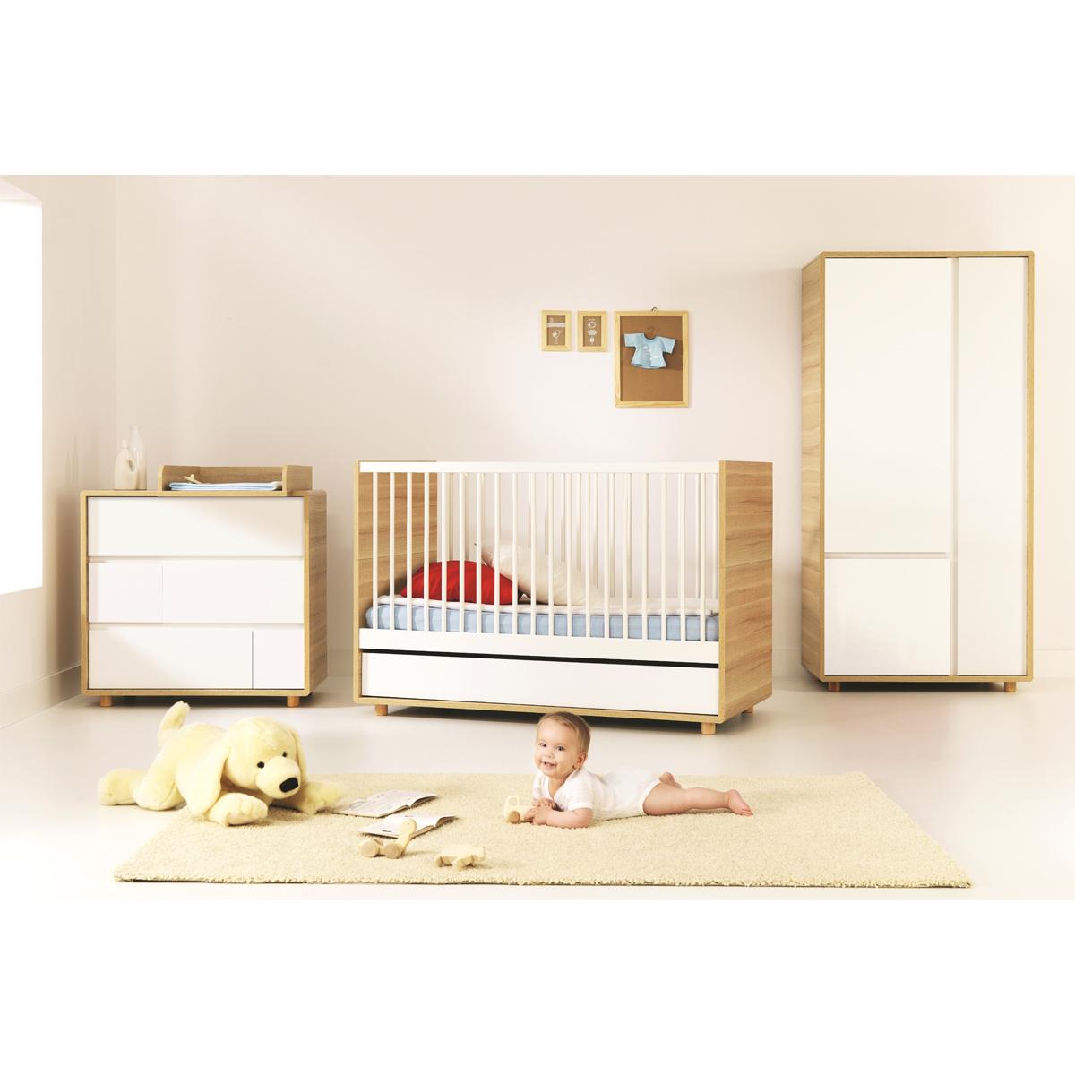 Chambre complète lit évolutif 70x140 - commode à langer - armoire 2 portes Vox Evolve - Bois
