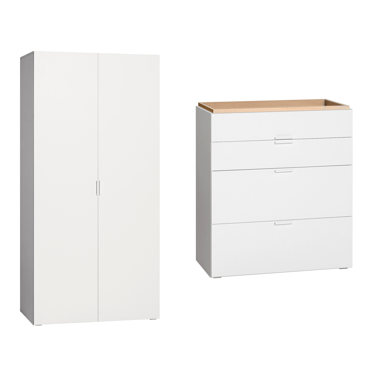 commode langer et armoire 2 portes vox 4you blanc. Black Bedroom Furniture Sets. Home Design Ideas