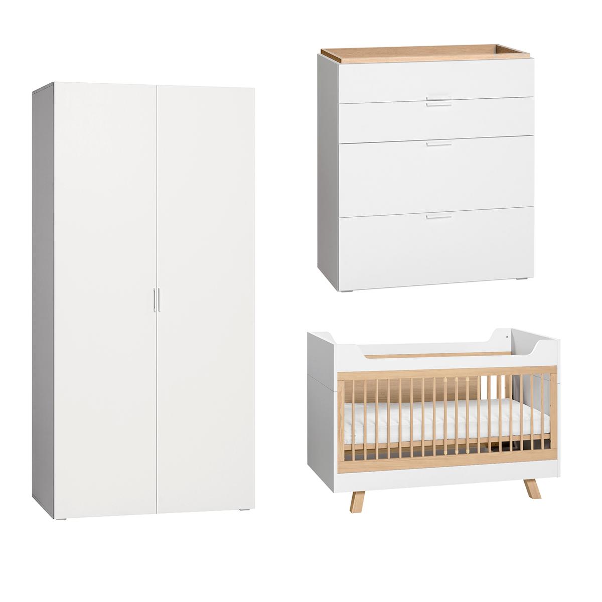 Chambre complète lit évolutif 70x140 - commode à langer - armoire 2 portes Vox 4You - Blanc