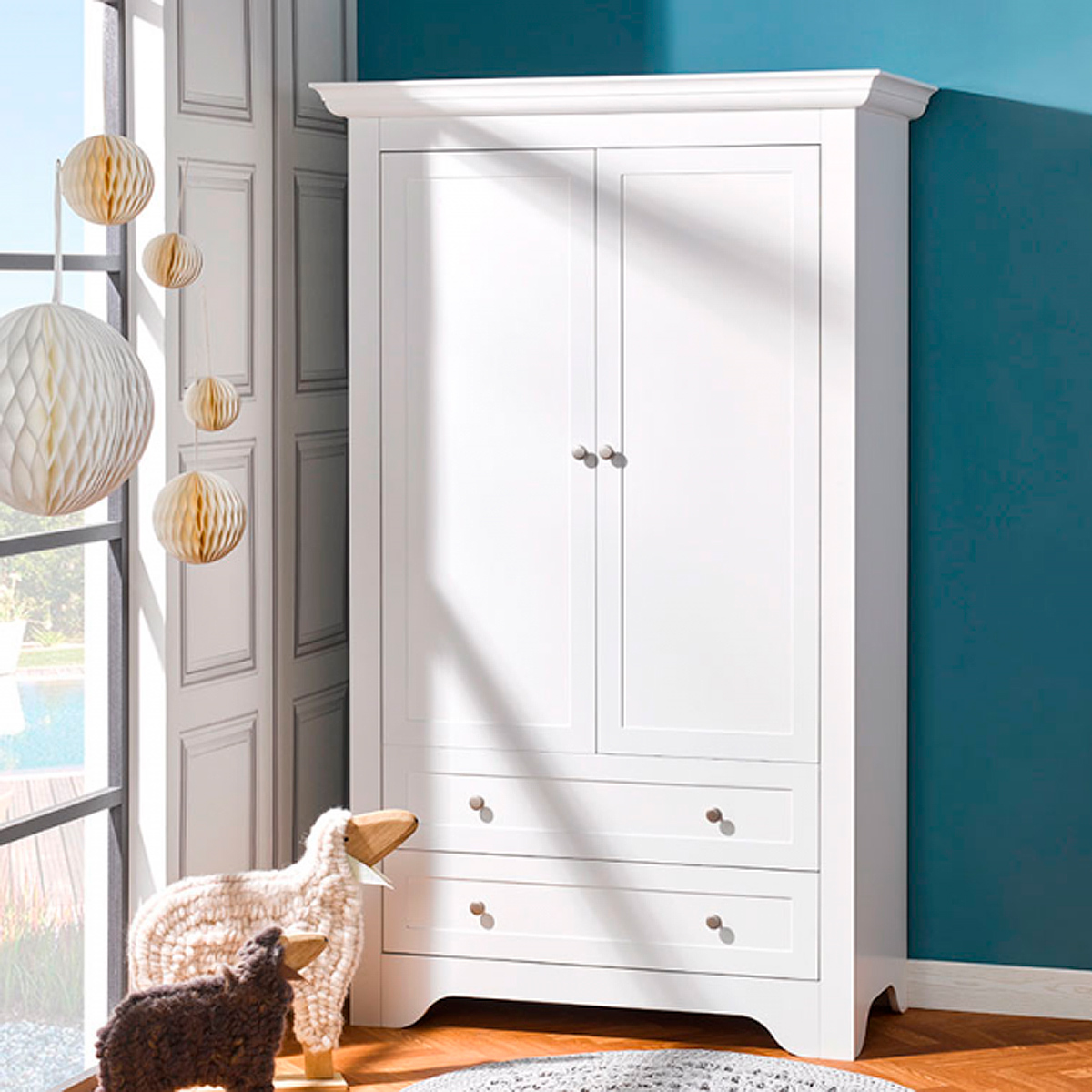 armoire 2 portes b b provence occitane blanc. Black Bedroom Furniture Sets. Home Design Ideas