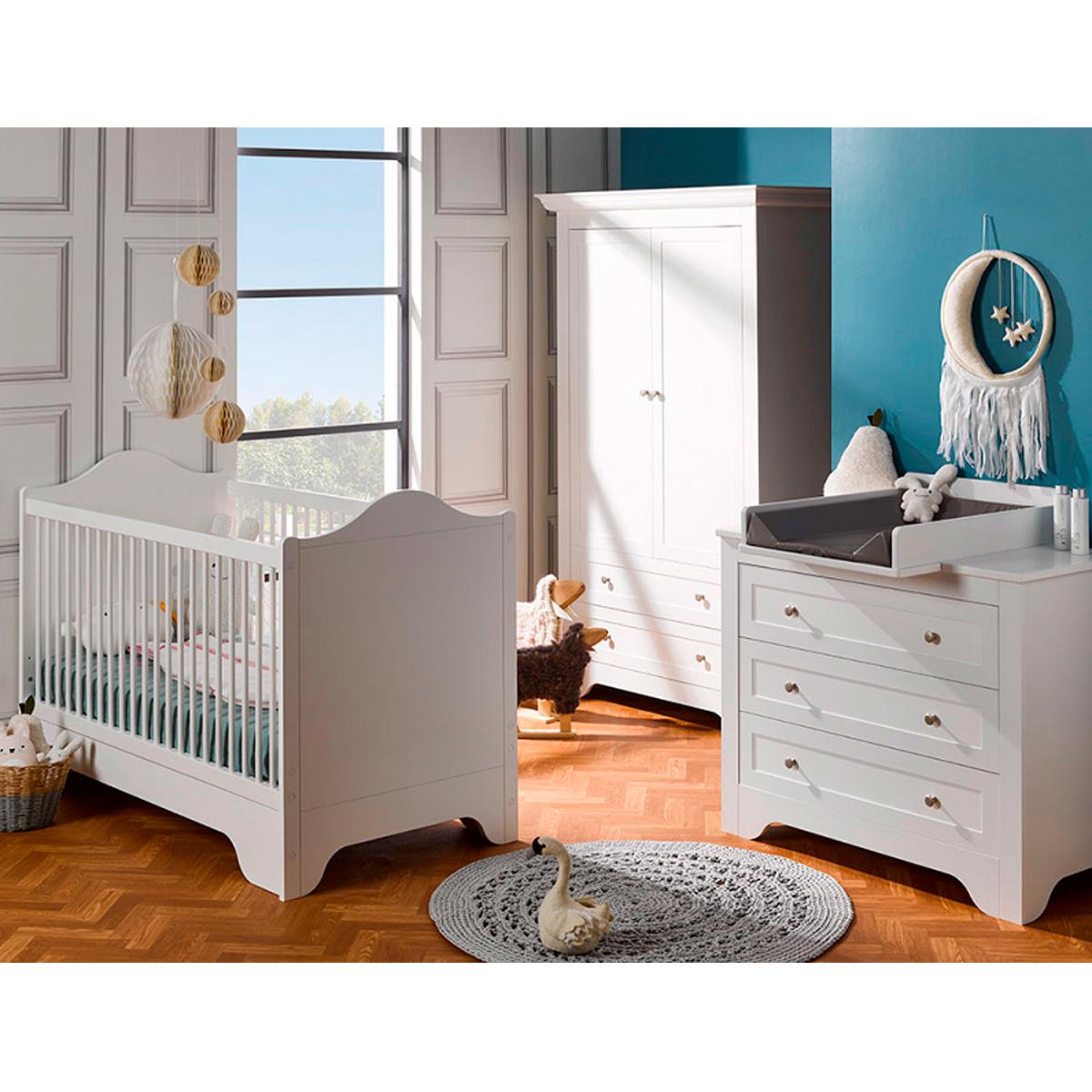 Ambiance Chambre Bebe à chambre complète lit évolutif 70x140 - commode à langer - armoire