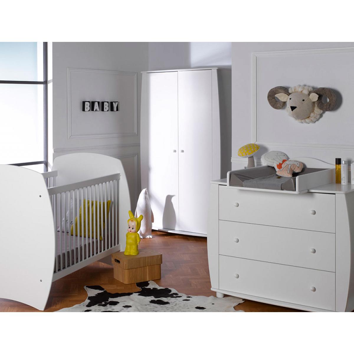 Ambiance Chambre Bebe se rapportant à chambre complète lit évolutif 70x140 - commode à langer - armoire