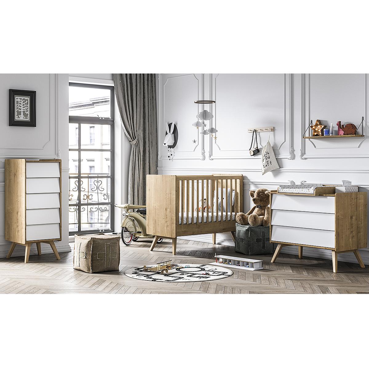 Chambre complète lit bébé 60x120 - commode à langer - chiffonnier Vox Vintage - Bois Blanc
