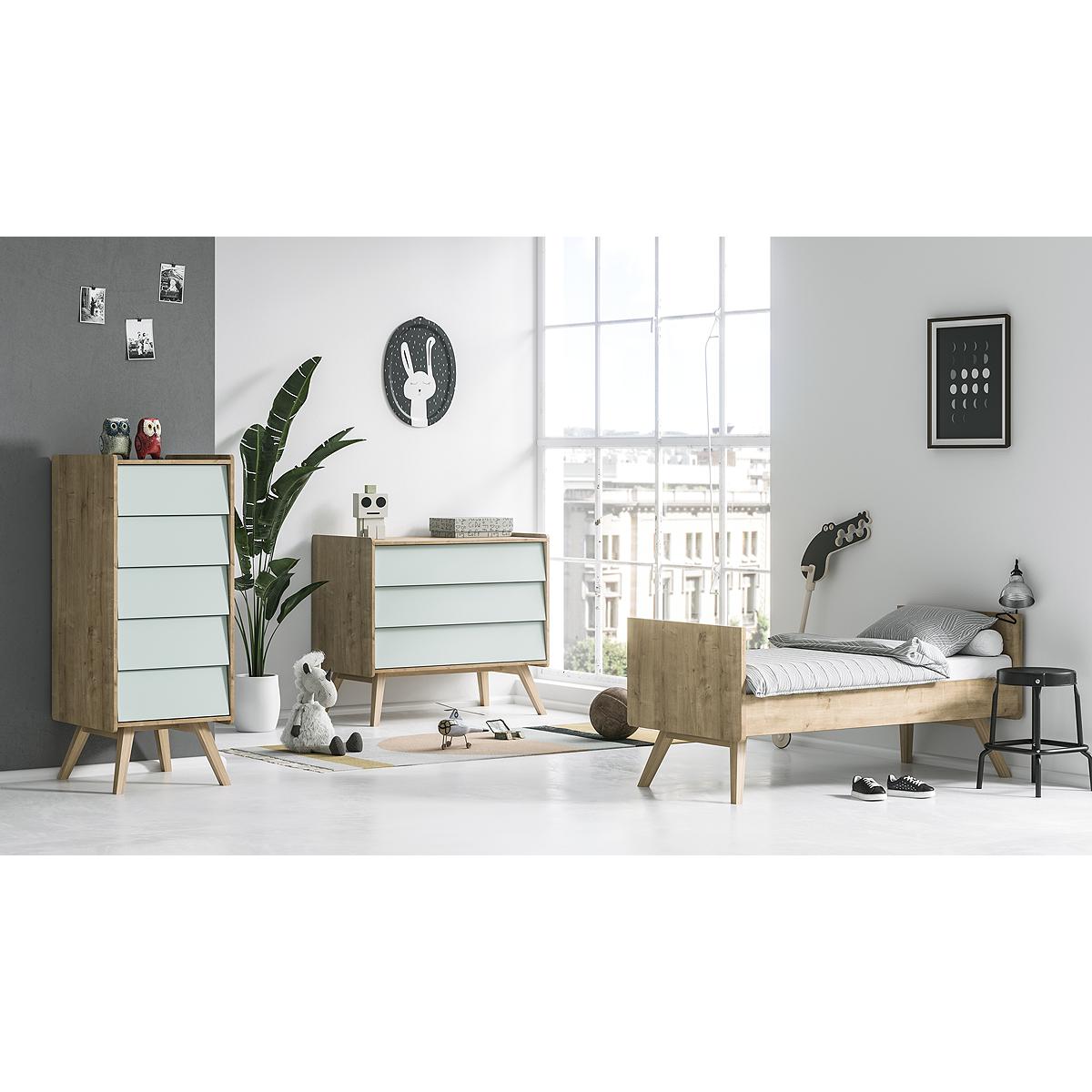 Chambre complète lit évolutif 70x140 - commode à langer - chiffonnier Vox Vintage - Bois Vert