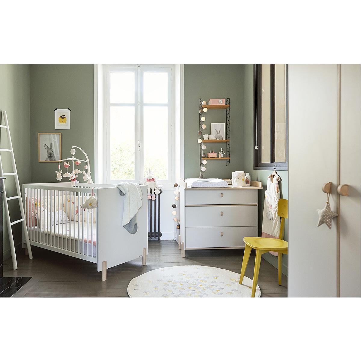 Chambre complète lit évolutif 70x140 - commode à langer - armoire 2 portes Galipette Eliott - Gris bois