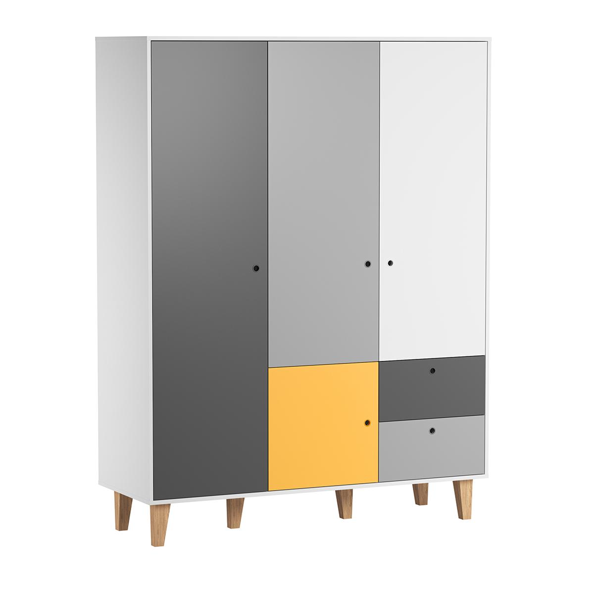 Armoire 3 portes Vox Concept - Jaune