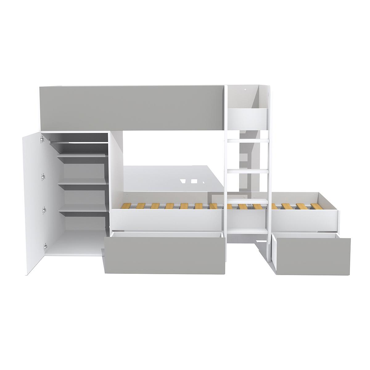 Lit superposé 90x190 - armoire - tiroirs - Weber Industries Twin - Blanc et gris