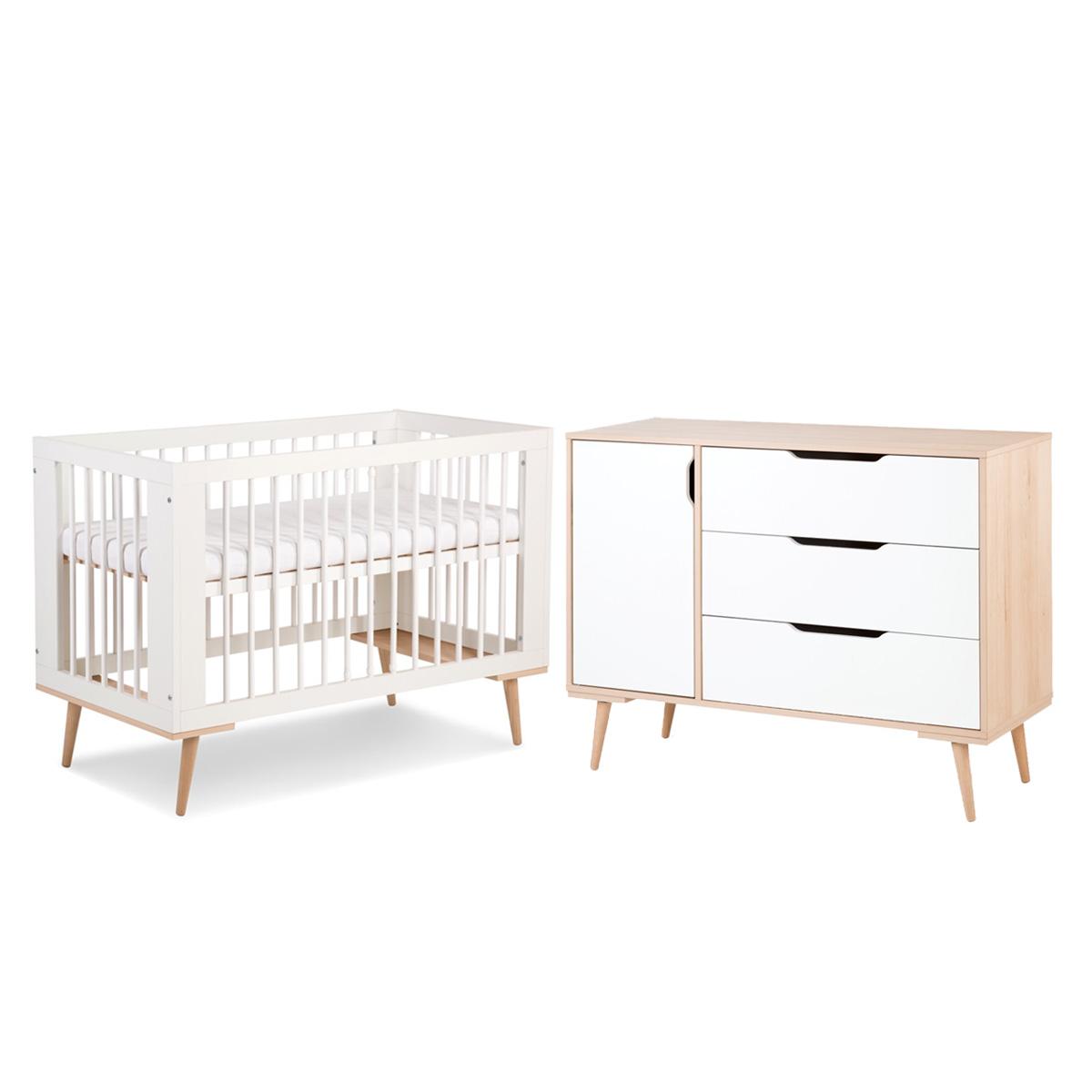 Lit bébé 60x120 et Commode à langer LittleSky by Klups Sofie - Blanc