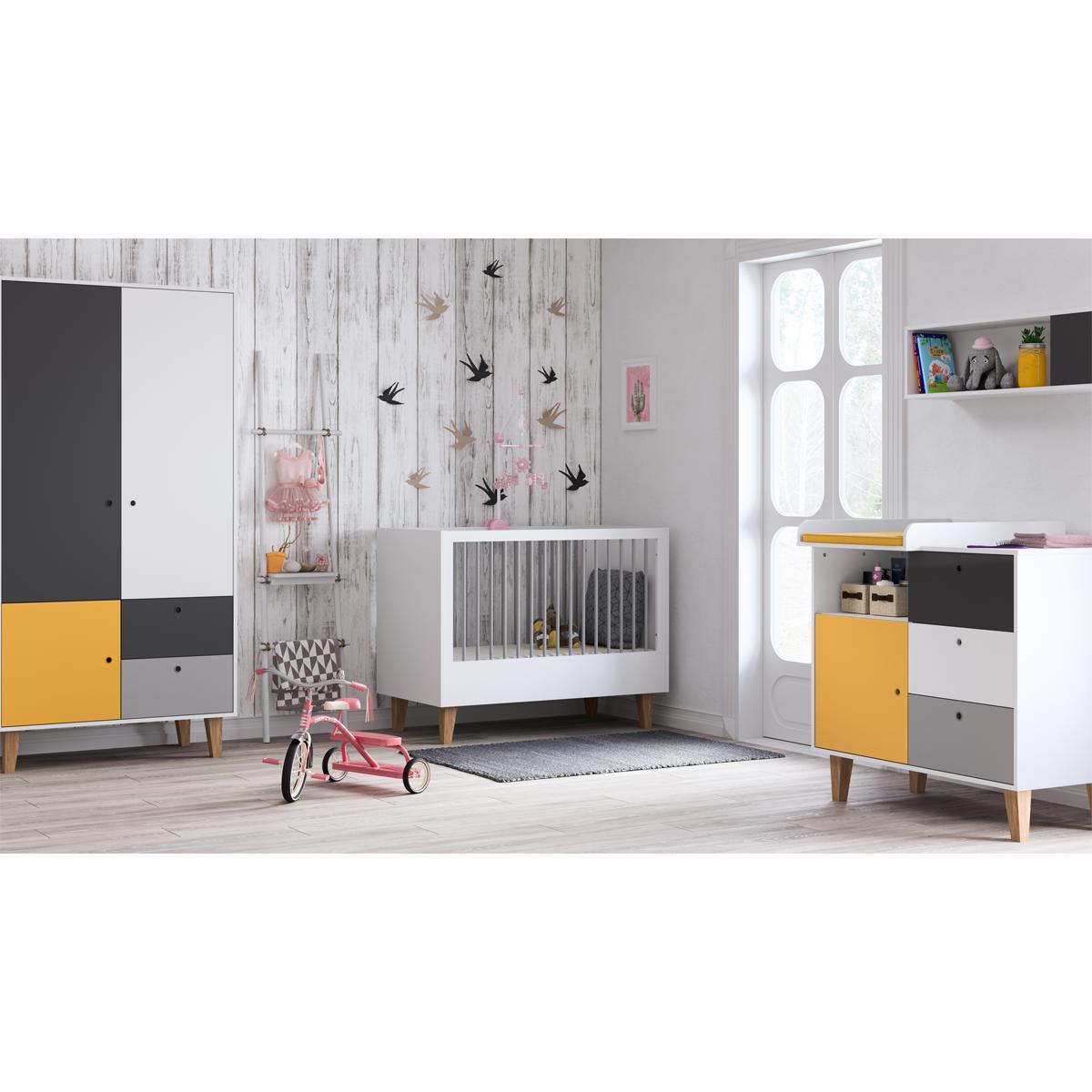Chambre complète lit bébé 60x120 - commode à langer - armoire 2 portes Vox Concept - Jaune
