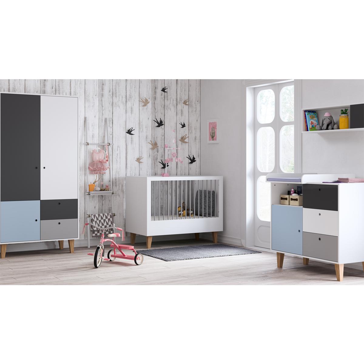 Chambre complète lit évolutif 70x140 - commode à langer - armoire 2 portes Vox Concept - Bleu