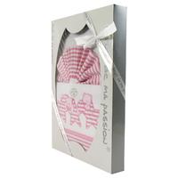 Coffret Parure de draps blanc et rose - Motif Etoiles