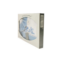 Coffret Parure de draps pour berceau, landau, couffin bleu - Motif Bébé
