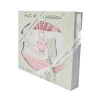 Coffret Parure de draps rose à carreaux - Motif Ourson Poussette Tétine