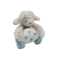 Couverture polaire coral fleece et peluche King Bear Mouton - Bleu