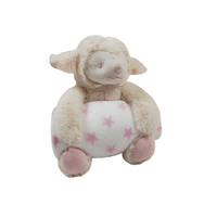 Couverture polaire coral fleece et peluche King Bear Mouton - Rose
