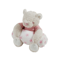 Couverture polaire coral fleece et peluche King Bear Ours - Rose