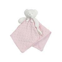 Doudou pour bébé King Bear à pois 3D avec attache sucette Ours - Rose