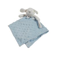 Doudou pour bébé King Bear à pois 3D avec attache sucette Chien - Bleu