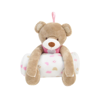 Couverture polaire et peluche King Bear 26cm Ours - Rose