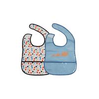 Lot de 2 bavoirs pour bébé King Bear PVC - Bleu et blanc à pois