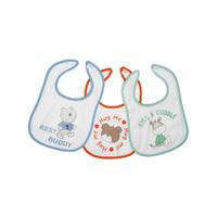Lot de 3 bavoirs pour bébé King Bear velcro fond blanc - Best buddy