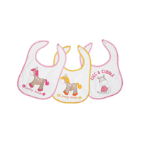 Lot de 3 bavoirs pour bébé King Bear velcro fond blanc - Lovely horse