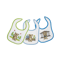 Lot de 3 bavoirs pour bébé King Bear velcro fond blanc - Motif Nounours