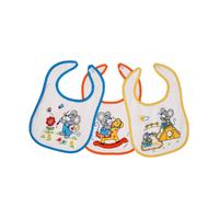 Lot de 3 bavoirs pour bébé King Bear velcro fond blanc - Motif Souris