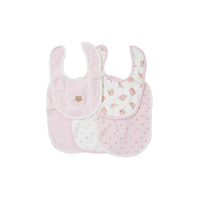 Lot de 5 bavoirs pour bébé King Bear rose - Motif Nounours