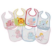 Lot de 7 bavoirs pour bébé King Bear animaux fantaisie girl - Motifs jours de la semaine