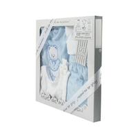 Coffret Ensemble bébé 5 pièces 3 à 6 Mois blanc et bleu - Motif Nounours