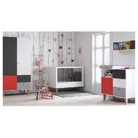 Chambre complète lit bébé 60x120 - commode à langer - armoire 2 portes Vox Concept - Rouge