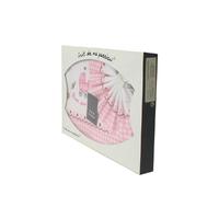 Coffret Parure de draps pour berceau, landau, couffin rose à carreaux - Motif Poussette Bébé
