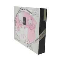 Coffret Ensemble bébé 7 pièces 3 à 6 Mois blanc et rose - Motif Nounours