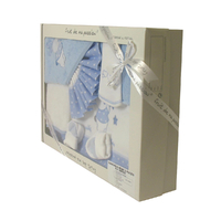 Coffret Parure de draps et Sortie de bain bleu - Motif Lapin Etoiles