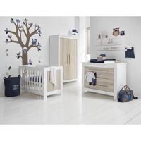 Chambre complète lit bébé 60x120 - commode à langer - armoire 2 portes Twf Parma - Bois