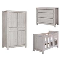 Chambre complète lit bébé 60x120 - commode à langer - armoire 2 portes Twf San Diego - Bois