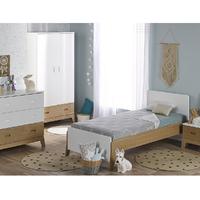 Chambre complète lit 90x190 - commode - armoire 2 portes Junior Provence Archipel - Blanc Chêne
