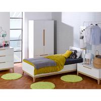 Chambre complète lit 90x190 - commode - armoire 2 portes Junior Provence Evidence - Blanc Hêtre