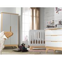 Chambre complète lit évolutif 70x140 - commode à langer - armoire 2 portes Bébé Provence Bonheur - Blanc Bouleau