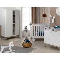 Chambre complète lit évolutif 70x140 - commode à langer - armoire 2 portes Bébé Provence Bonheur - Blanc Lin