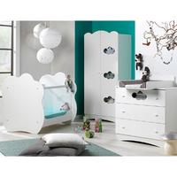 Chambre complète lit bébé 60x120 - commode à langer - armoire 2 portes Bébé Provence Altéa - Blanc