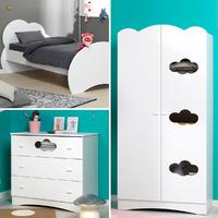 Chambre complète lit 90x190 - commode - armoire 2 portes Junior Provence Altéa - Blanc
