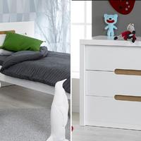 Lit 90x200 et Commode 3 tiroirs Junior Provence Milo - Blanc