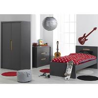 Chambre complète lit 90x200 - commode 3 tiroirs - armoire 2 portes Junior Provence Milo - Gris