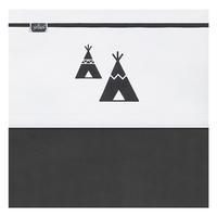 Drap Jollein 75x100cm Indians Tipi - Noir et blanc