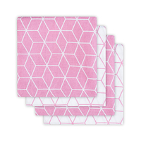 Lot de 4 langes hydrophiles Jollein 70x70cm Graphic - Rose