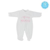 Babygro pour bébé 12 Mois blanc et rose - J'aime ma maman