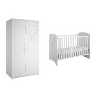 Lit bébé 60x120 et Armoire 2 portes Galipette Adèle - Blanc